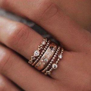 Jewelry - NEW 5 Piece Boho Rose Gold Midi Ring Set